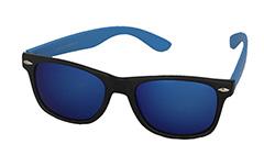 858cb12eb0cdc6 Zwarte wayfarer zonnebril met oranje montuur · Zonnebril met blauw montuur  en multicolor glas ...